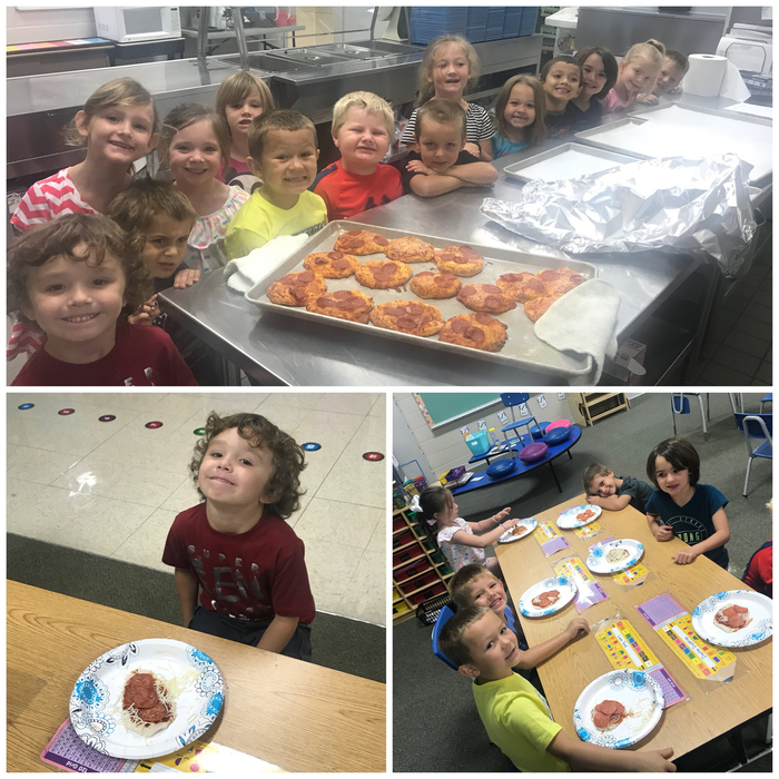 Mrs. Clary's kindergarten read a story about a pizzeria this week. They talked about the process of Making pizzas and got to put those skills to the test.