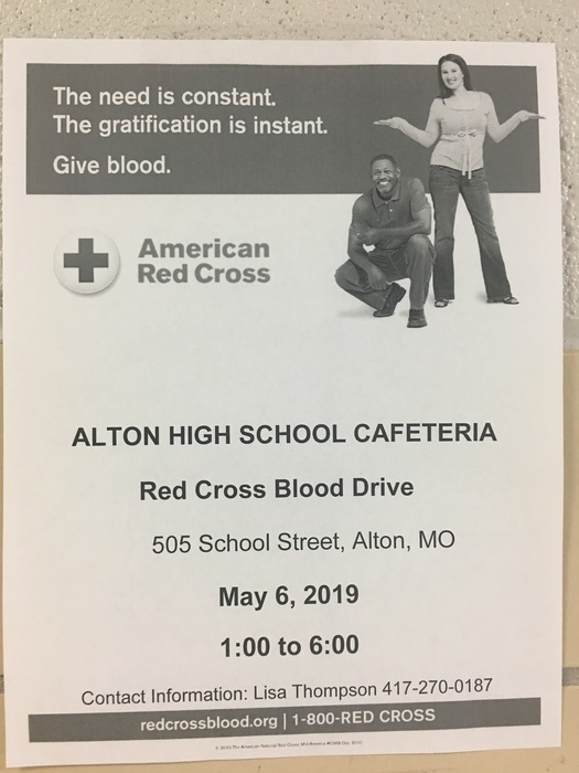 Alton Beta Club is sponsoring a Red Cross Blood Drive. Please come help us raise scholarship money for a deserving senior by giving blood.