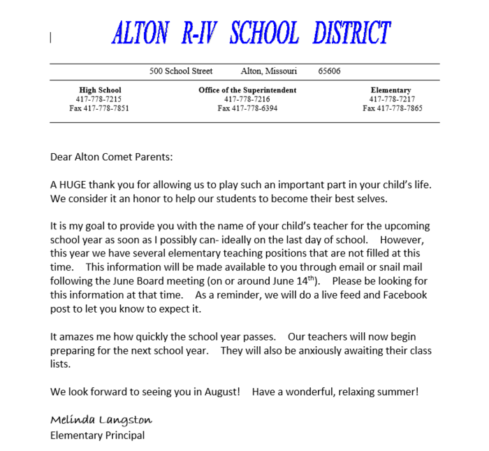 Parents: Please read! Information about your child's teacher for the 2019-2020 School Year #AltonElem